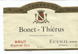 N3 / Wine Old Liqueur Alcohol LABEL Etichetta Etiqueta / Etiquette Alcool / CHAMPAGNE BONET THIERUS - Champagne