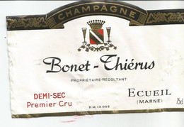 N3 / Wine Old Liqueur Alcohol LABEL Etichetta Etiqueta / Etiquette Alcool / CHAMPAGNE BONET THIERUS Demi Sec - Champagne
