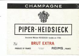 N3 / Wine Old Liqueur Alcohol LABEL Etichetta Etiqueta / Etiquette Alcool / CHAMPAGNE PIPER-HEIDSIECK - Champagne