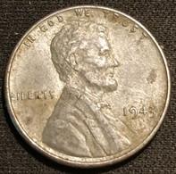 USA - ETATS-UNIS - 1 ONE CENT 1943 - Zinc - Steel Penny - KM 132a - 1909-1958: Lincoln, Wheat Ears Reverse