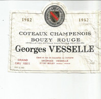 N3 / Wine Old Liqueur Alcohol LABEL Etichetta Etiqueta / Etiquette Alcool / CHAMPAGNE BOUZY Rouge VESSELLE  1982 - Champagne