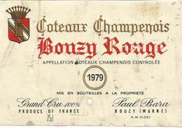 N3 / Wine Old Liqueur Alcohol LABEL Etichetta Etiqueta / Etiquette Alcool / CHAMPAGNE BOUZY 1979 - Champagne