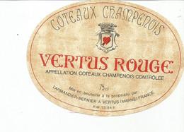 N3 / Wine Old Liqueur Alcohol LABEL Etichetta Etiqueta / Etiquette Alcool / CHAMPAGNE VERTUS ROUGE - Champagne