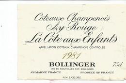 N3 / Wine Old Liqueur Alcohol LABEL Etichetta Etiqueta / Etiquette Alcool / CHAMPAGNE Cotes Aux Enfants - Champagne
