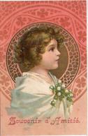 Fillette Art Nouveau -  Souvenir D' Amitiès  - Fillette En Médaillon   (5700 ASO) - 1900-1949