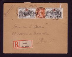 Croix Rouge Paire N° 156  Sur Lettre Recommandée - Lettres & Documents