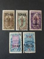 COLONIE FRANCIA AFRICA EQUATORIALE FRANCESE TCHAD 1922 - 27 TIMBRES AVEC SURCHARGES NOU-VALEUR - Used Stamps