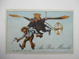 """L 'AVIATION  EN  L ' AN 2000  -   LA  POLICE   ....    PUB   """"  AU  BON  MARCHE  """"          TTB - Humor"""
