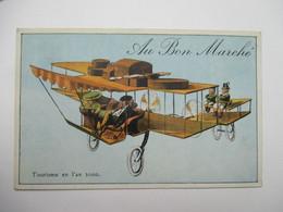 """L 'AVIATION  EN  L ' AN 2000  -  TOURISME     ....    PUB   """"  AU  BON  MARCHE  """"          TTB - Humor"""
