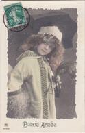 D3153 FANTAISIE ENFANT - JEUNE FILLE EN TENUE D'HIVER, SOUS LA NEIGE - BONNE ANNEE N°2519/6 - Verzamelingen & Reeksen