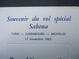 Oude Menu  Souvenir  Du  Vol  Spécial  SABENA  1963 - Menú