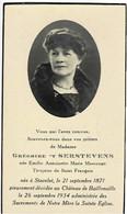 STAVELOT / BAILLONVILLE (Château) - Emilie MASSANGE - épouse Grégoire 't SERSTEVENS - °1871 Et +1934 - Andachtsbilder