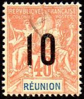 Réunion Obl. N°  77 - Type Groupe Surchargé 10c Sur 40c Rouge Orange - Oblitérés