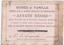 "Invito 1896  Costantinopoli ""Soiree De Famille Societe Israelite De Bienfaisance  AAVATH HESSED"" - Visiting Cards"