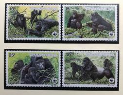 RWANDA 1985 - NEUF** / MNH - Série Complète Mi 1292 / 1295 - ANIMAUX GORILLES GORILLA WWF - LUXE - CV 18 EUR - 1980-89: Mint/hinged