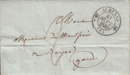 MARQUE POSTALE   LAC 6 AUBENAS POUR BARJAC DU 21 SEPT 1840  T 12 - 1801-1848: Precursores XIX