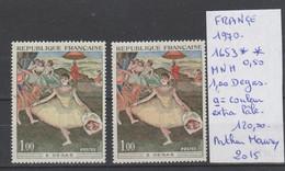 TIMBRE DE FRANÇE NEUF ** MNH VARIETE 1970 Nr 1653 A= COULEUR  EXTRA PALE  COTE    120 € - Curiosités: 1970-79 Neufs