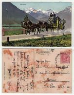 Suisse // Diligence Postale Dans Les Alpes (au Départ De L'Italie , Carte Tachée Au Dos) - Otros