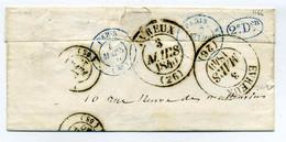 Paris Cachet De Levée N° Pothion 1166 Sur Lettre De  MEXIMIEUX + Boite Rurale P / Nbeux Cachets Au Verso / 1840 - 1801-1848: Precursores XIX