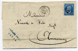 CETTE / Maison AMEDE PRAX  Transport France Et Etranger / Dept 33 Herault / 1865 - 1849-1876: Classic Period