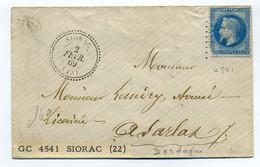 T22 SIORAC + Boite Rurale B + Losange GC 4541 / Dept 23 Dordogne / 1869 - 1849-1876: Classic Period