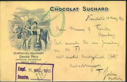 "1913, Privatganzsache 5 Pfg. Tellknabe ""CHOCOLAT SUCHARD"" Gebraucht NEUCHATEL TRNSIT - Stamped Stationery"