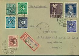 1948, Zehnfach- Mischfrankatur Per Einschreiben 2(./.48 -10 (AB Hainsberg 8sACHSEN9 - American/British Zone