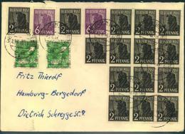 1948, Zehnfach- Mischfrankatur 23.6.48 -10 (erste Leerung) Ab BÖRNSEN (LAUENBURG) - American/British Zone