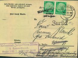 "1937, 2-mal 5 Pfg. Hindenburg ""POL"" Auf Vorladung Ab BERLIN NW 7 - Covers"
