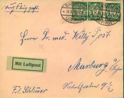 """1925,Luftpostbrief Mmit 3-mal 10 Pfg. Wappen Ab """"DANZIG LUFTPOST - Dantzig"""