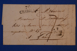 J5 FRANCE BELLE LETTRE 1829 CHAROLLE POUR PARIS + AFFRANCHISSEMENT INTERESSANT - 1801-1848: Precursores XIX
