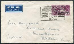 1935 India Airmail Stationery Cover (new Rate Overprint) Simla (Telepohone Slogan)-Lady Hayward,Swanbourne,Bucks England - 1911-35 King George V