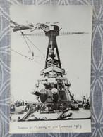 BATEAU NAVIRE MILITAIRE TOURELLE ET PASSERELLE D'UN CUIRASSE  CARTE PHOTO 1929 TRACE AGRAFFE - Krieg