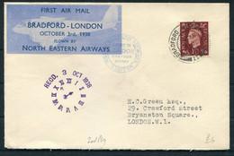 1938 GB North Eastern Airways First Flight Cover. Bradford - London Croydon Airport - Cartas