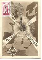 CARTE POSTALE FRANCE 1957 AVEC TIMBRE EUROPA ET CACHET MOUVEMENT FEDERALISTE EUROPEEN DIJON - 1957