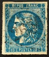 YT 46Ba 20c Bleu Foncé LGC 2656 Nice Alpes-Maritimes (°) 1870-71 Bordeaux Type III R2 (45 Euros) – Ciel - 1870 Bordeaux Printing