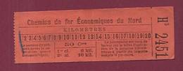 180121 TICKET CHEMIN DE FER TRAM METRO - H3 2451 CHEMINS DE FER ECONOMIQUES DU NORD 50 Cmes - Europa