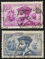 YT 296-297 (°) 1934 Oblitérés 4 Centenaire Jacques Cartier Au Canada (côte 7 Euros) – 4bleu - Gebraucht