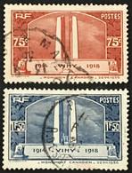 YT 316 317 (°) Oblitéré 1936 Monument De Vimy Mémoire Des Canadiens Guerre 1914-1918 (côte 12,5 Euros) – Brief - Gebraucht