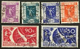 YT 322 à 327 (°) Oblitéré Exposition Internationale De Paris 1937 (côte 17 Euros) – La2phil - Gebraucht