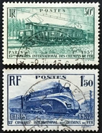 YT 339 & 340 (°) Obl 1937 13 Congrès Chemins De Fer Paris (côte 10,1 Euros) – 4bleu - Gebraucht