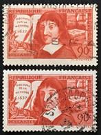 YT 341 & 342 (°) Obl 1937 René Descartes Discours De (et Sur) La Méthode (côte 4 Euros) – Cklot - Gebraucht