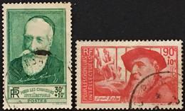 YT 343 344 (°) Obl 1937 Au Profit Des Chômeurs Intellectuels Anatole France Rodin (côte 10 Euros) – 4bleu - Gebraucht