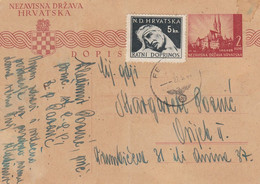 1944 Croatia NDH Stationery Sent From Pazaric To Zagreb , Feldpost - Croatia