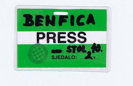 C19  B36) FOOTBALL Press Card HADJUK SPIT VI PRVA SAVEZNA LIGA BENFICA - Sin Clasificación
