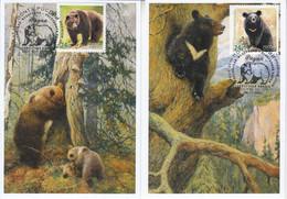 Russia 2020 2941-2942 Mih 2717-2718 Russia 12 2020 NO EXTRA FEES Fauna 02 European Brown Bear Asian Black Bear - Cartoline Maximum