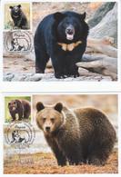 Russia 2020 2941-2942 Mih 2717-2718 Russia 12 2020 NO EXTRA FEES Fauna European Brown Bear Asian Black Bear - Cartoline Maximum
