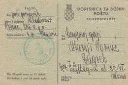 1944 Croatia NDH Dopisnica Za Bojnu Postu , Feldpost , Sent From Pazaric To Zagreb - Croatia