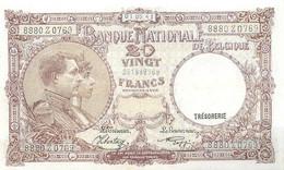 Belgium, Kingdom, Banknote 20 Francs 1941 Royal Couple, Morin 27b, XF - 20 Francs