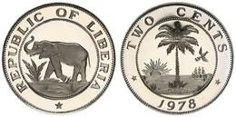 Liberia, Republic, 2 Cents Copper-Nickel 1978 Elephant And Palm Tree, KM 12a, Proof - Liberia